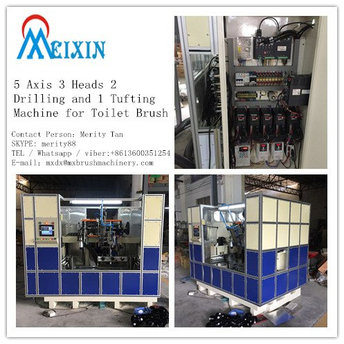5 axis 3 heads 2 drilling and 1 tufting machine for toilet brush